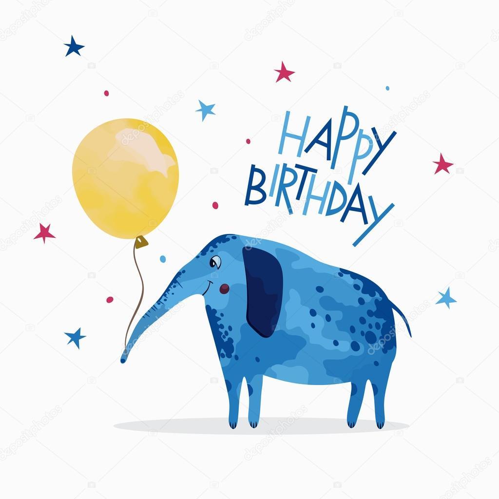 Gelukkige Verjaardag Card Olifant Met Een Ballon Stockvector