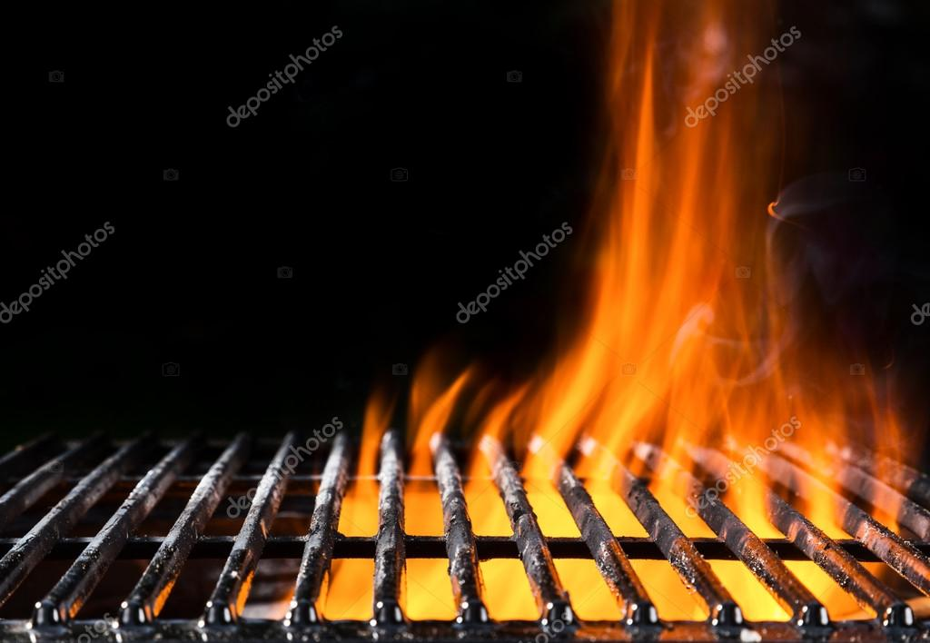 Empty grill grid with fire