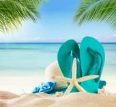Fotografie Summer beach accessories on sand