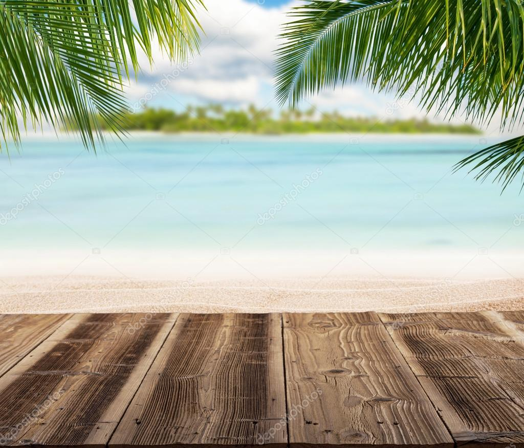 Wood Floor On Beach Sea And Blue Sky For Background Stock: Empty Wooden Planks With Blur Beach On Background