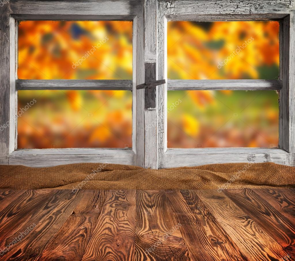 Autumn still life with empty wooden planks