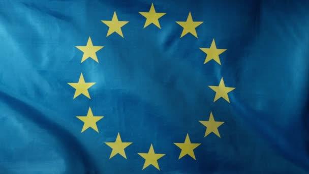 Super slow motion of waving flag of European Union. Filmed on high speed cinema camera, 1000fps.