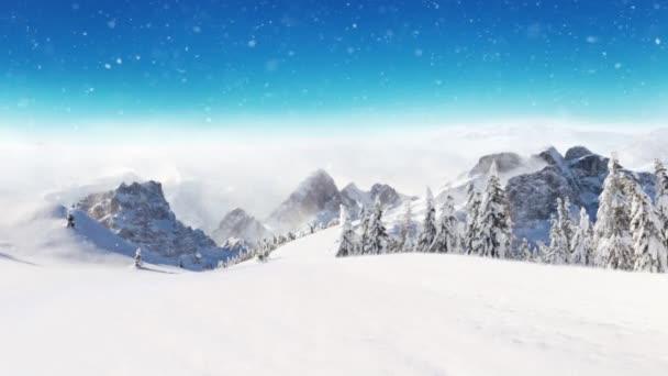 Zpomalený pohyb padajícího sněhu se zimní krajinou na pozadí. Padající sníh natočený na vysokorychlostní kameře, 1000fps. Fotografie venkovské krajiny na pozadí.