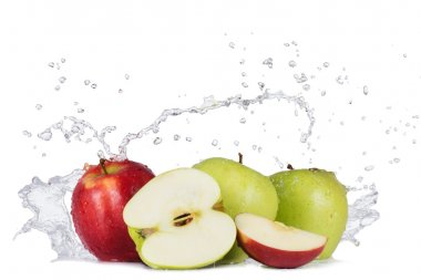 Apples with water splashes on white