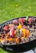Fotografie Lahodné zeleniny a masa špíz na grilu