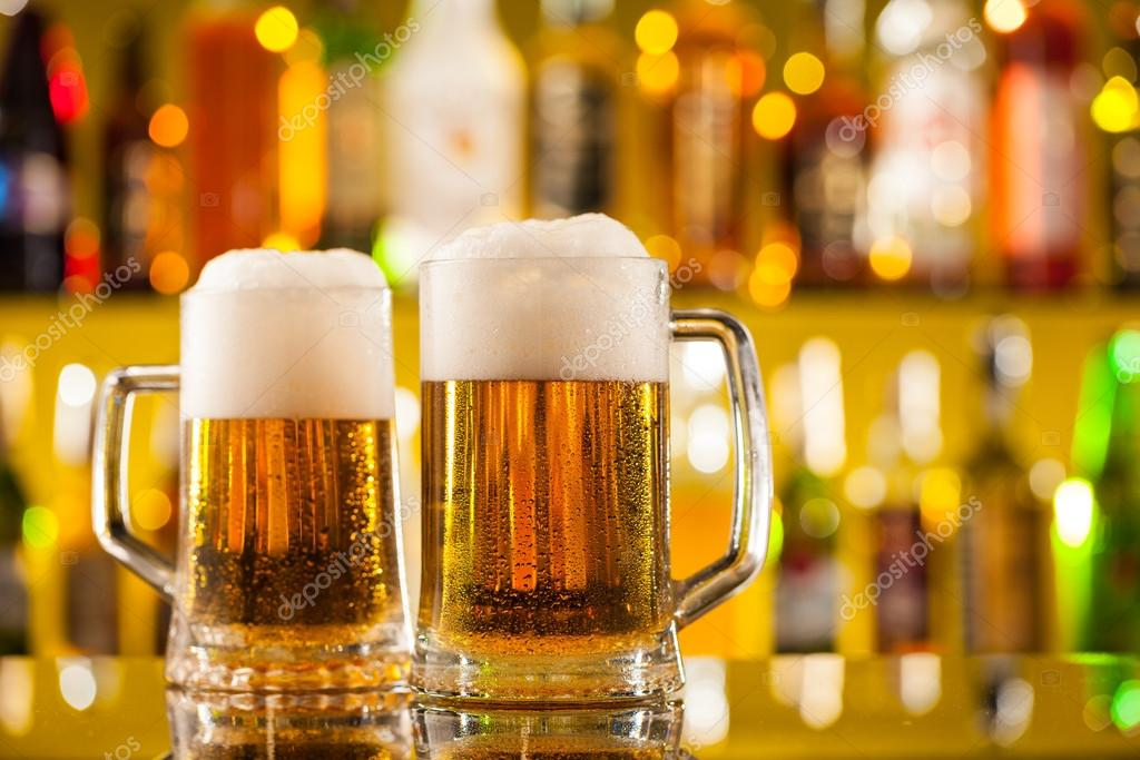 jugs of beer served on bar counter stock photo jag cz 74039655