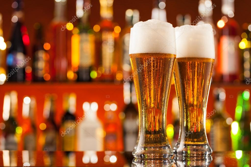 jugs of beer served on bar counter stock photo jag cz 74256999