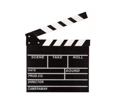 Film clapper on white background