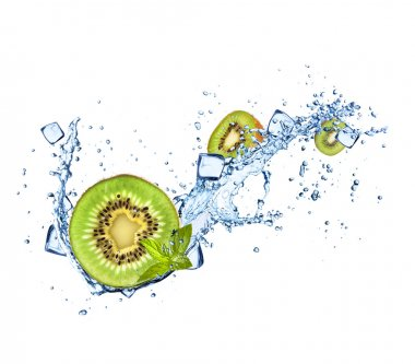 Kiwi in water splashes on white background