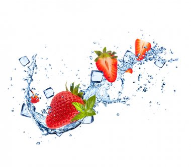 Strawberies in water splashes on white background