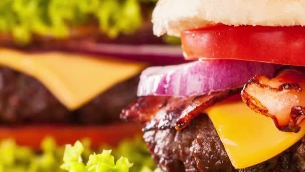 Slide motion of fresh hamburger