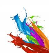 színes festék vízcseppek fehér háttér
