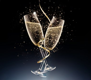 glasses of champagne on a black background.