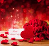 Photo Valentines gift box on abstract red background