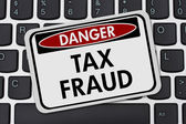Online Tax Fraud, computer keyboard and black and white danger s