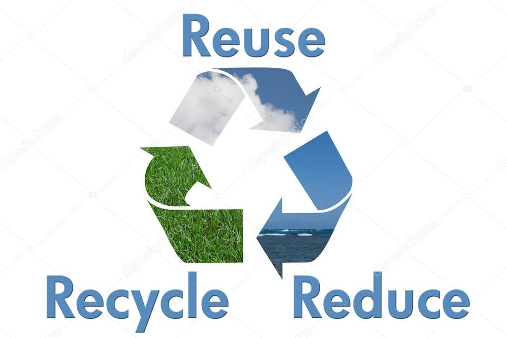 Recycle Symbol With Water Sky And Grass Stock Photo Karenr