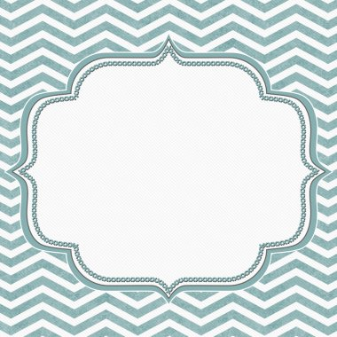 Teal and White Chevron Frame with Embroidery Background