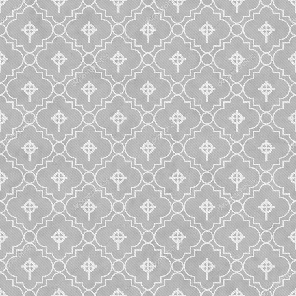 Gray and white celtic cross symbol tile pattern repeat background that is seamless and repeats image de karenr