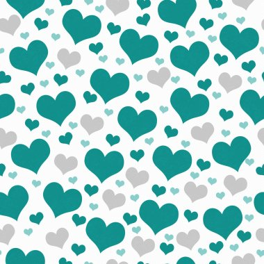 Green and White Hearts Tile Pattern Repeat Background that is seamless and repeats stock vector