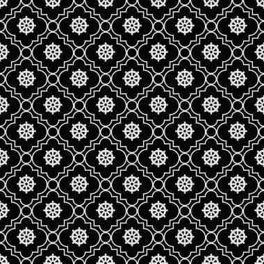 Black and White Wheel of Dharma Symbol Tile Pattern Repeat Background that is seamless and repeats stock vector