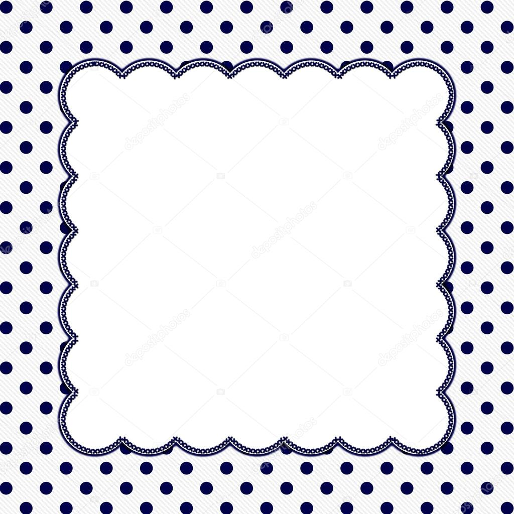 Navy Blue and White Polka Dot Frame Background — Stock Photo ...