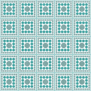 Teal, Gray And White Polka Dot Square Abstract Design Tile Patte