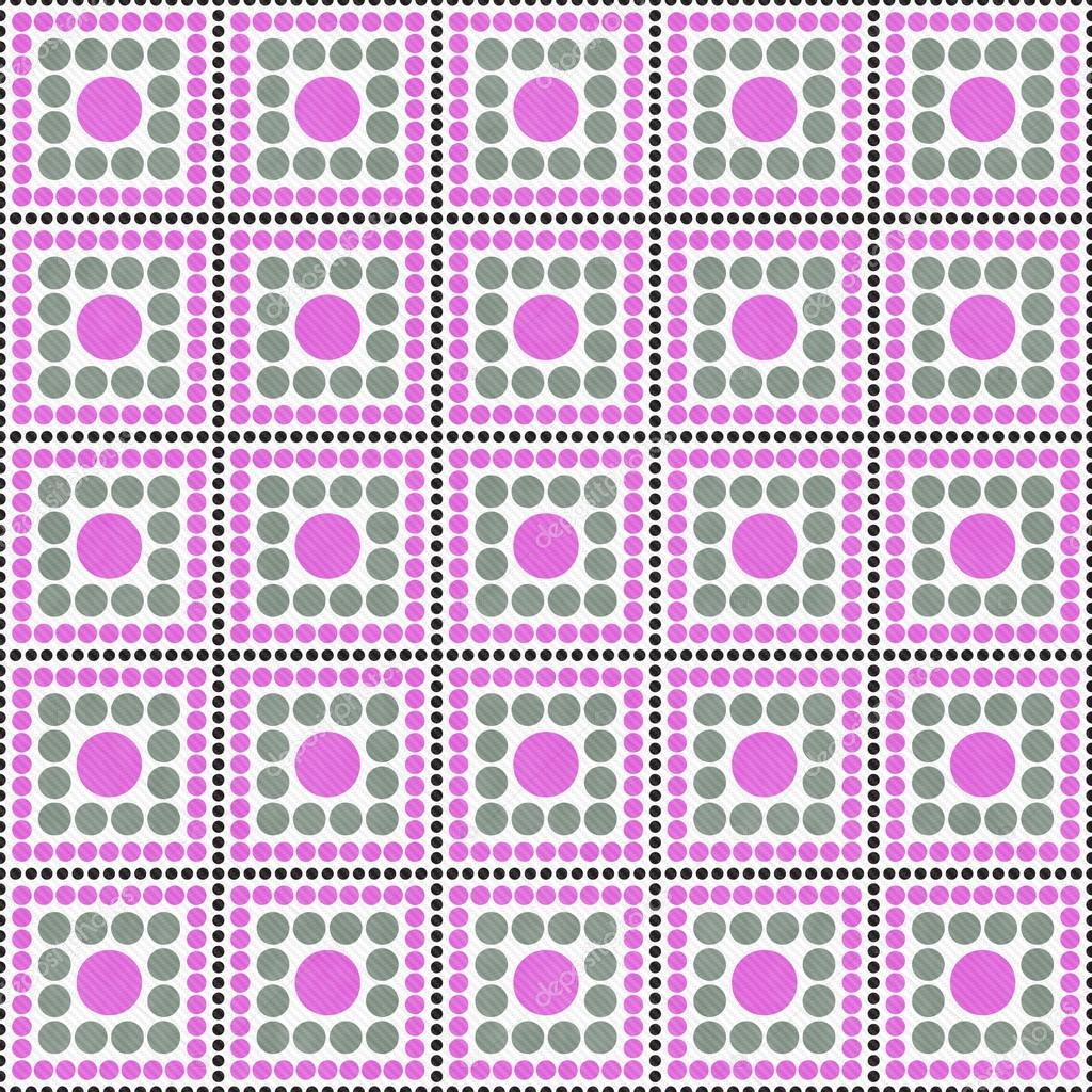 Rose Gris Et Blanc Polka Dot Square Dessin Abstrait
