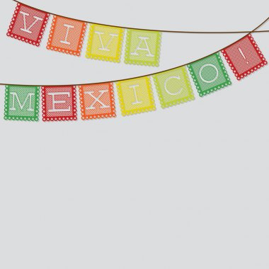 Mexican 'papel picado' (Paper flag decoration) card in vector fo