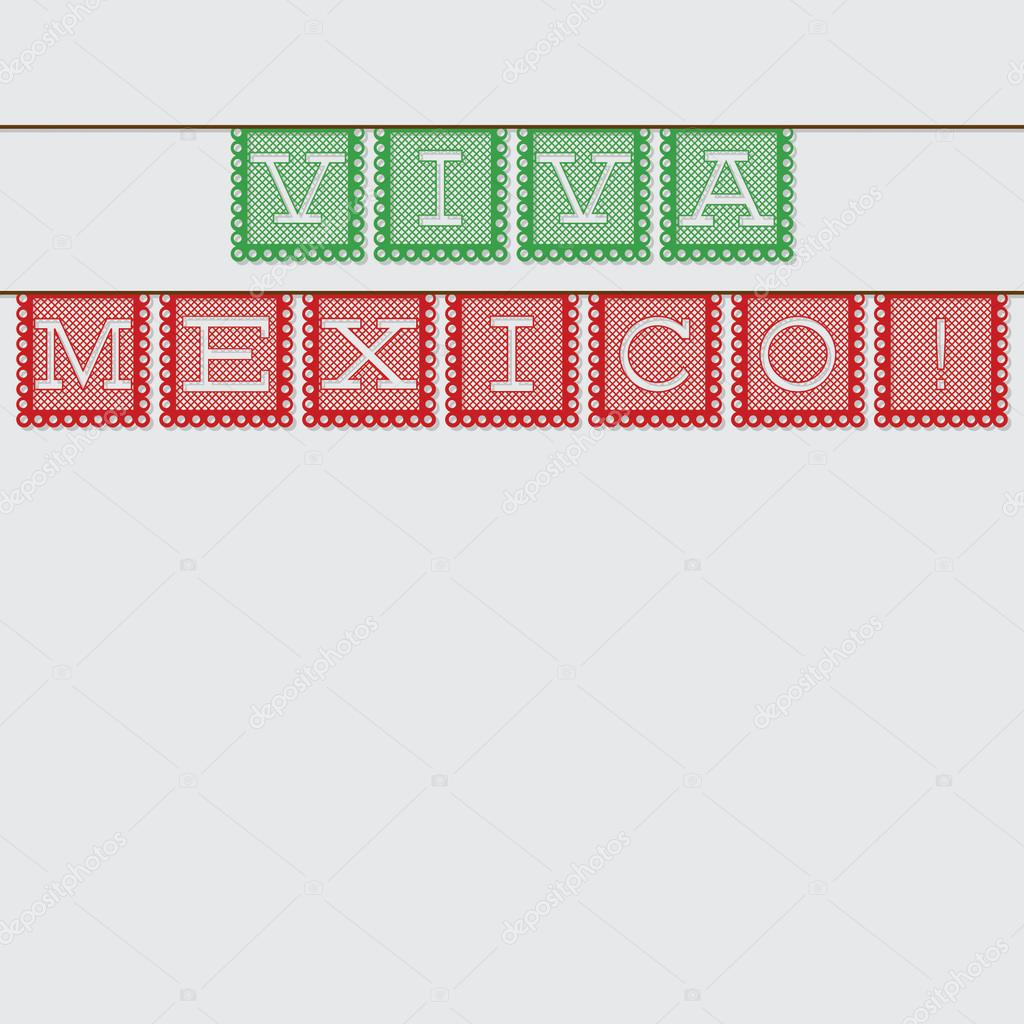 mexican papel picado paper flag decoration card in vector fo