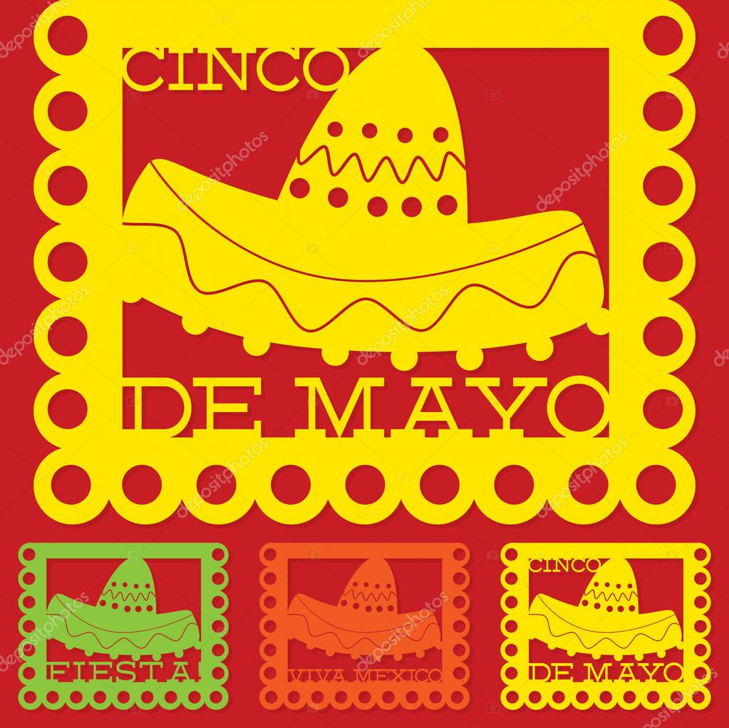 mexican papel picado paper flag decoration set in vector for