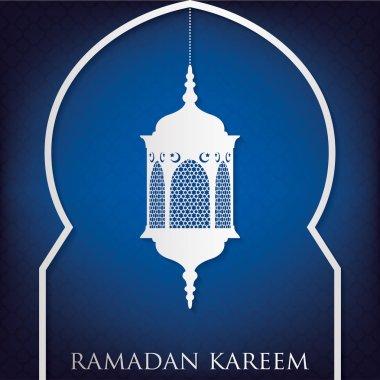 Lantern and moon with Eid Mubarak sign