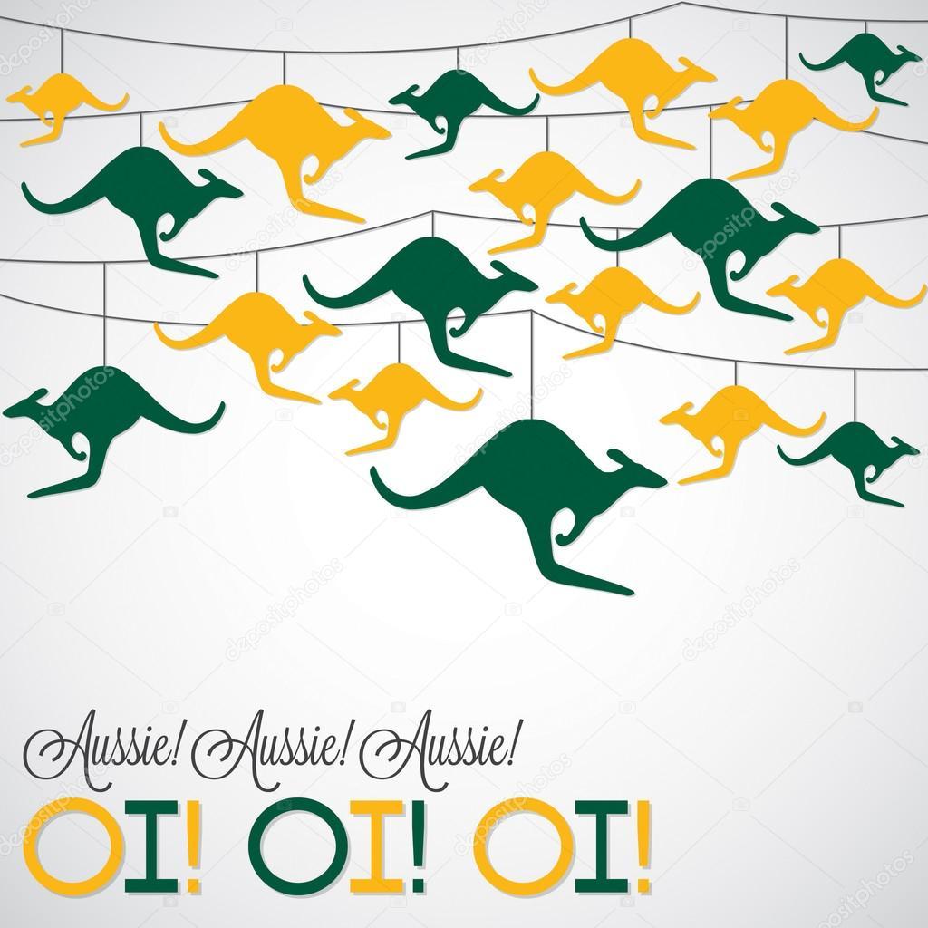 Känguru ornament Australien Tag Karte im Vektorformat — Stockvektor ...