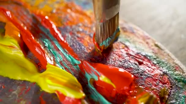 Multi-colored oil paints on an artistic palette.