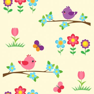 Seamless vector pattern with blooming branches