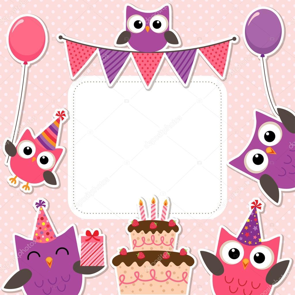 Tarjetas De Cumpleaños De Buhos Para Imprimir Tarjeta Rosa