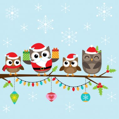 Christmas family of owls