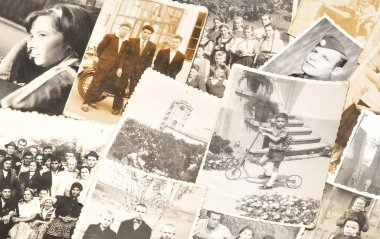 Collection of old family photos stock vector