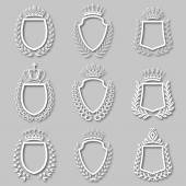 Set of vector laurel wreaths, shields