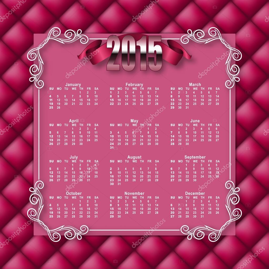 Plantilla del calendario de 2015 — Archivo Imágenes Vectoriales ...