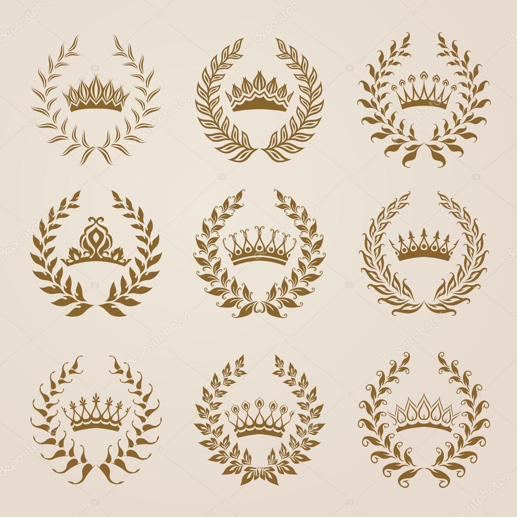 Set of Vector gold laurel wreaths.