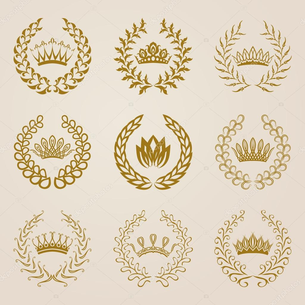 Set of Vector gold laurel wreaths.