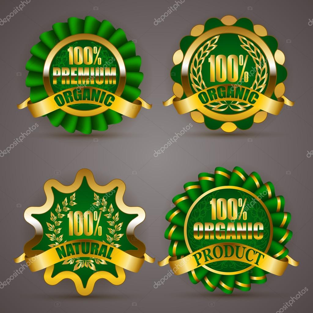 Set of luxury gold badges with floral laurel wreath ribbons 100 percent quality natural product premium organic eco emblem icon logo label medal