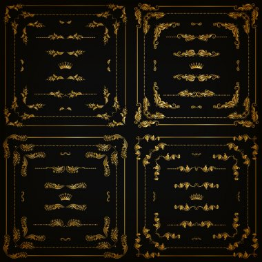 Vector set of gold decorative borders, frame