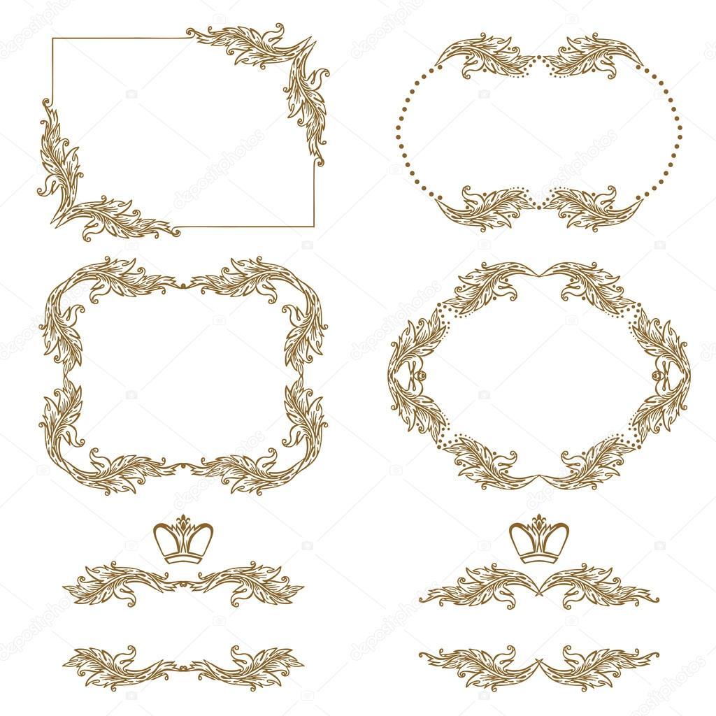 Vector conjunto de oro bordes decorativos, marco — Vector de stock ...