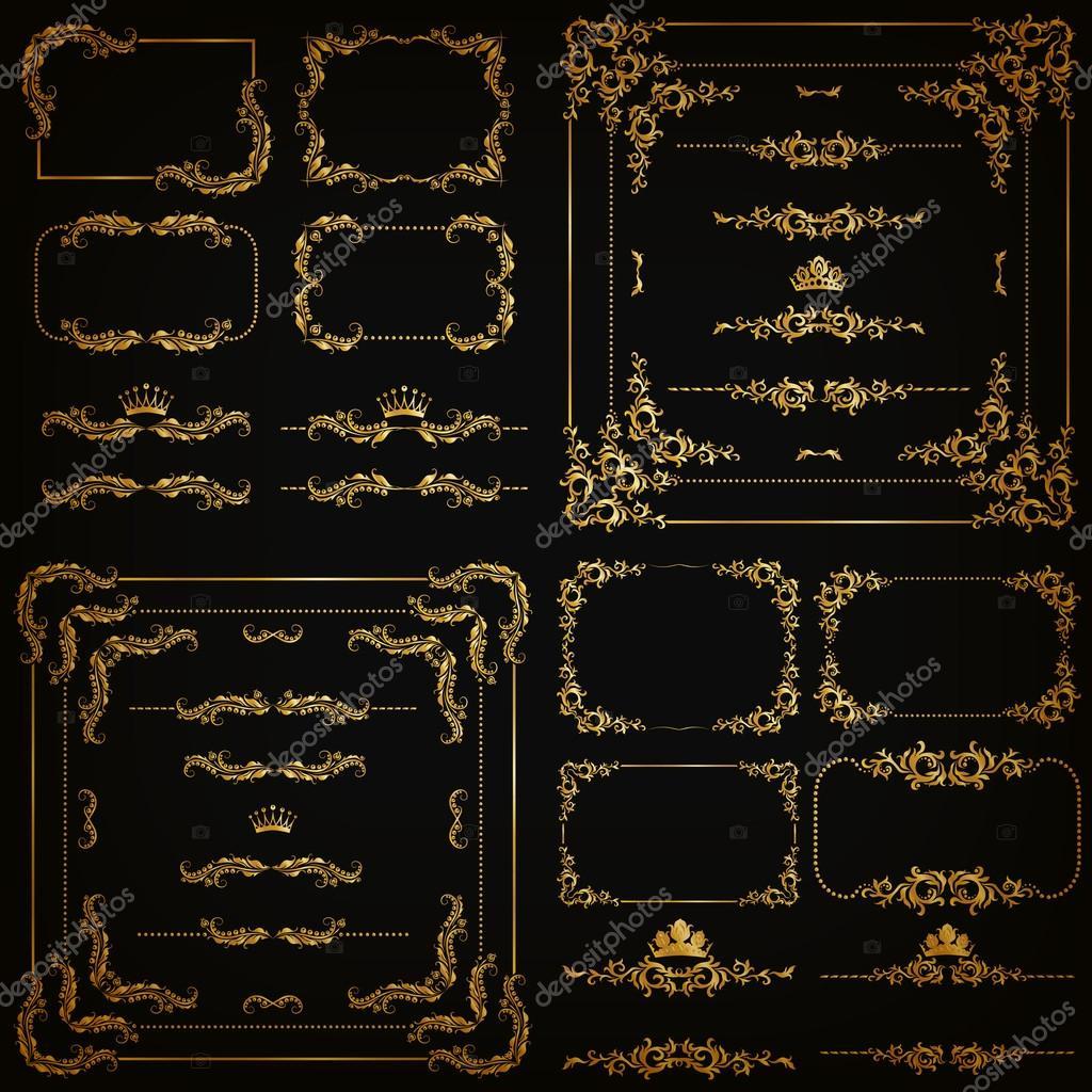 Vector Menge gold dekorative Ränder, Rahmen — Stockvektor ...