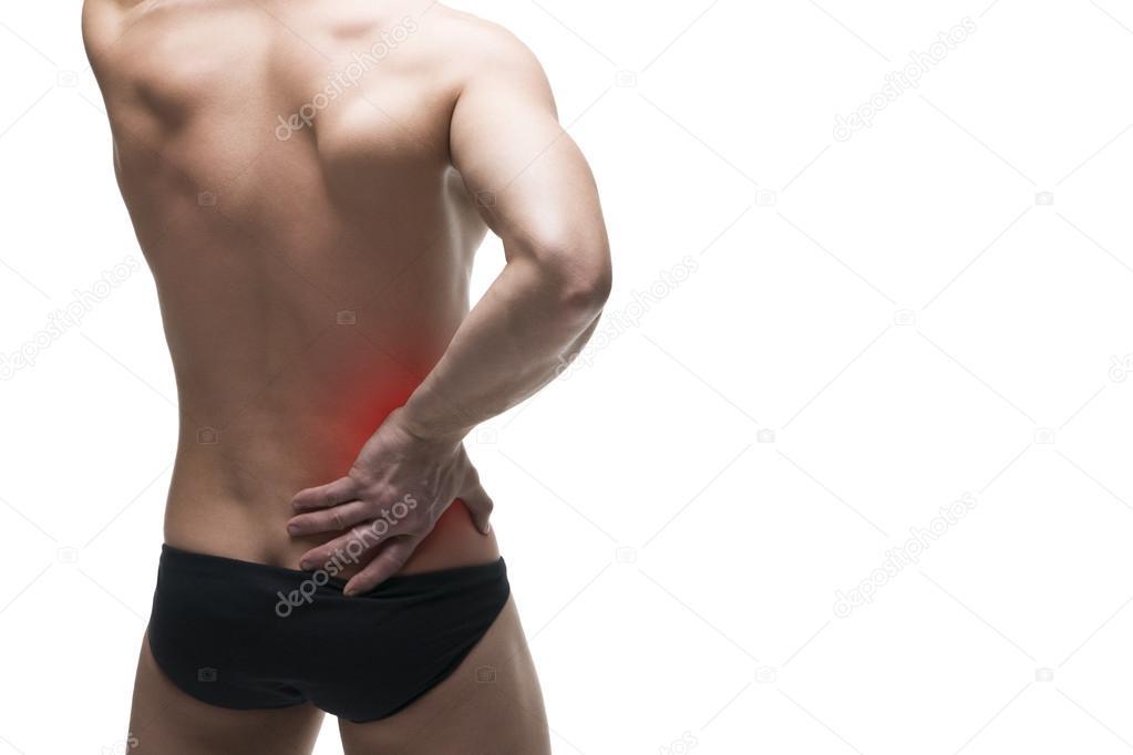 Dolor de riñón. Hombre con dolor de espalda. Dolor en el cuerpo ...