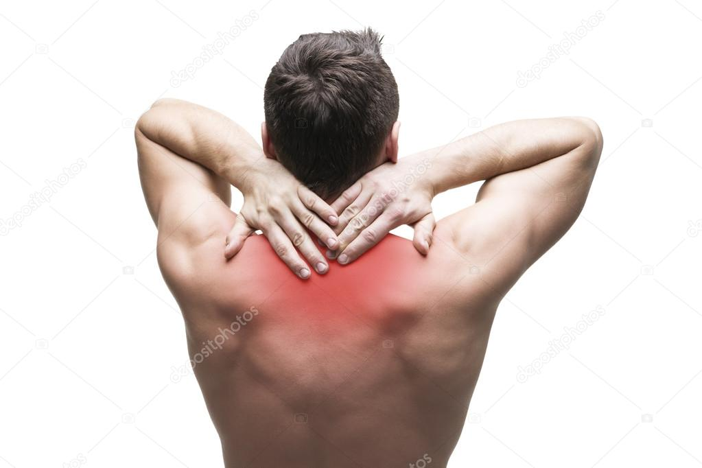 Schmerzen im Nacken. Mann mit Rückenschmerzen. Muskulöse männliche ...