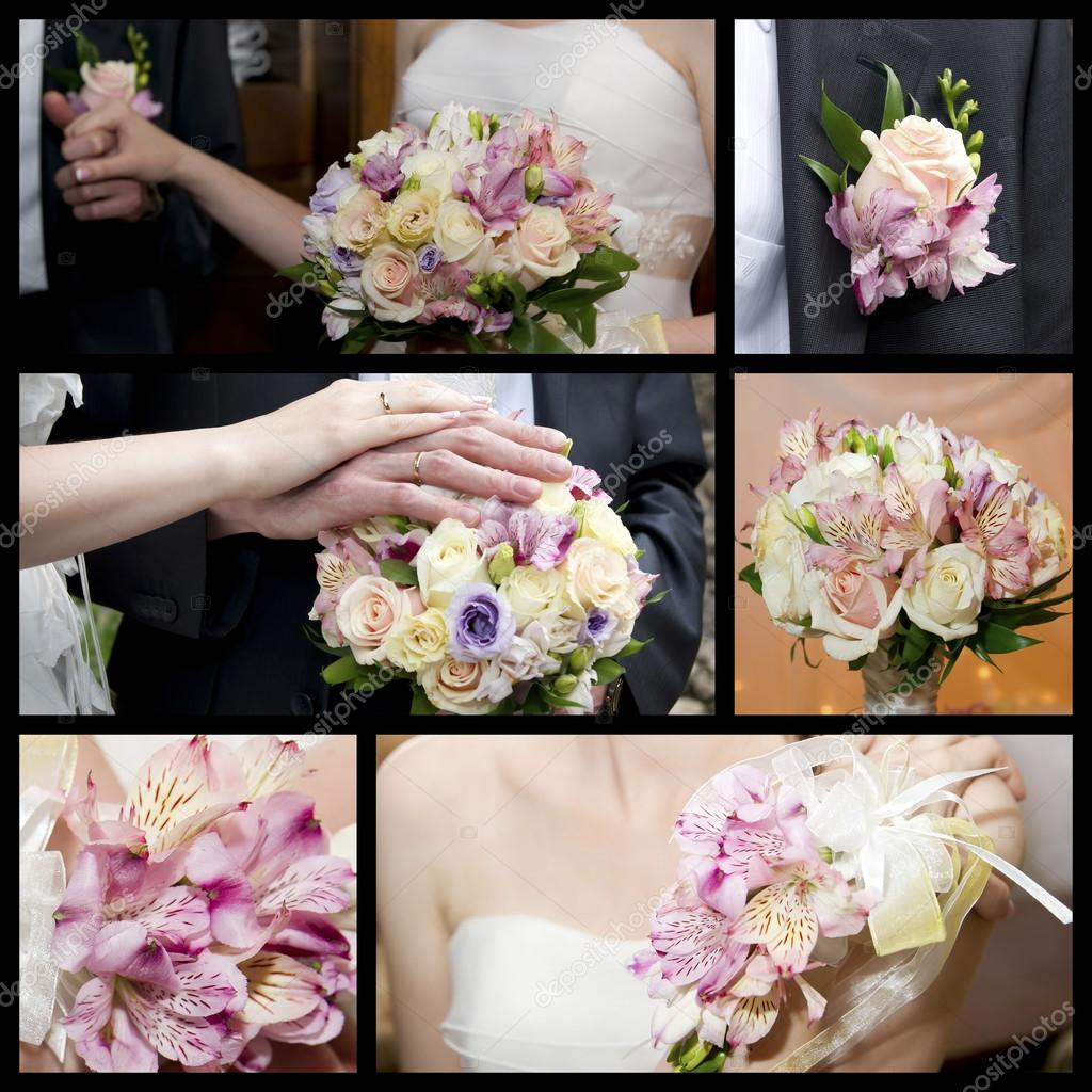 Hands of groom and bride with a bouquet of orchids and roses