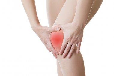 Knee pain of the woman isolated