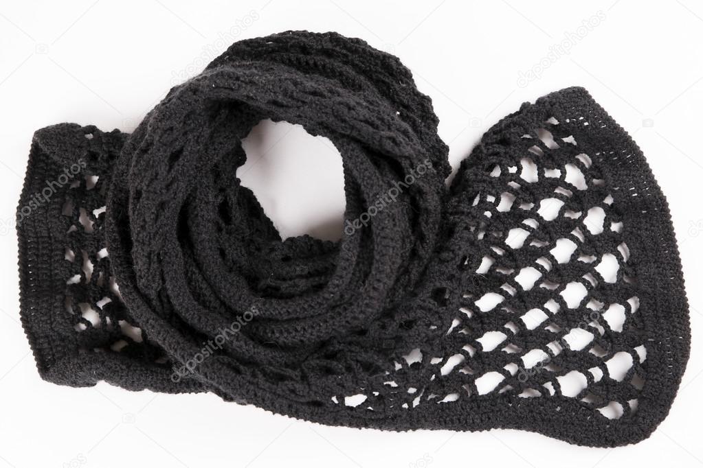 Schwarze Spitzen Schal Wolle gehäkelt — Stockfoto © starast #70139705